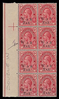 """TURKS and CAICOS MR10a - KGV War Tax """"Double Ovpt"""" (pf60365) NH"""