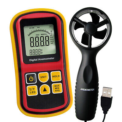 2-in-1 Thermo-Anemometer Temperature, Air Flow Wind Speed Meter 5 Parameters
