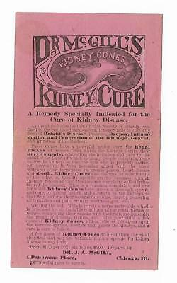 Old Quack Medicine Ad Dr. McGill's Kidney Cure Dr J.A. McGill Chicago IL