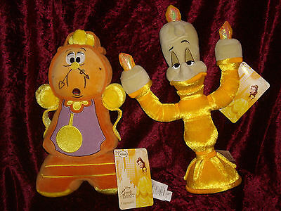 Cogsworth & Lumiere Soft Toy Disney plush new Beauty and the Beast