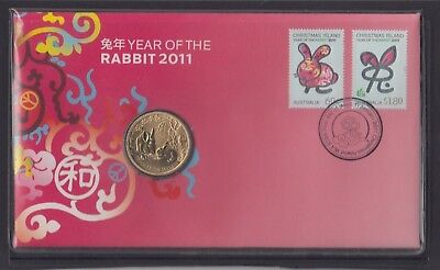 CHRISTMAS IS  2011 Year of the RABBIT PNC - Chinese New Year FDC with Coin .