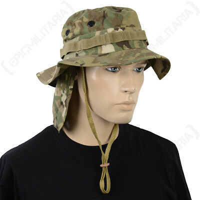 British Multitarn Camo Rip Stop Boonie Hat with Neck Flap - Army Bush Cap Sun