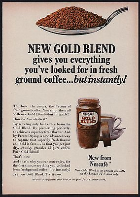 1960s advertisement for NESCAFE Gold Blend instant coffee advertising 1967 RD#