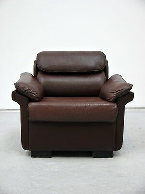 1960s VINTAGE ORIGINAL LEATHER LOUNGE CHAIR CLASSIC MID CENTURY MADE IN DENMARK