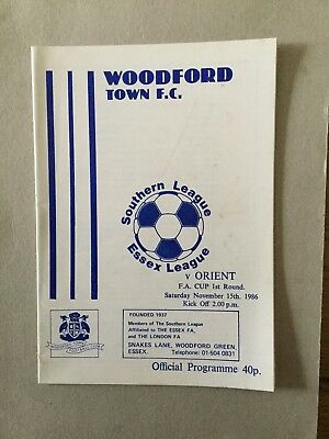 WOODFORD TOWN v ORIENT ( FAC ) 1986/7.