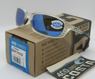 f5a1f90515c7 COSTA DEL MAR matte crystal/blue mirror BRINE POLARIZED 400G sunglasses!  NEW!