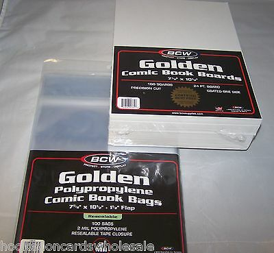 100 Each BCW Golden Resealable 7 5/8' Comic Book Storage Bags & Backer Boards