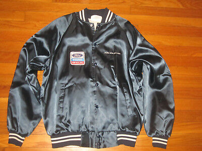Vintage Ford New Holland Satin Snap Front Jacket Mens Large Excellent Cond.