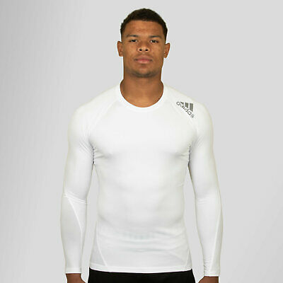f4fd4aa40 adidas Mens Alphaskin SPR Climacool Long Sleeve Compression T-Shirt White  Top