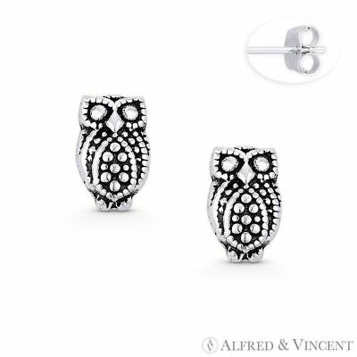 Perched Owl Animal Wisdom Charm Stud Earrings Oxidized Solid 925 Sterling Silver