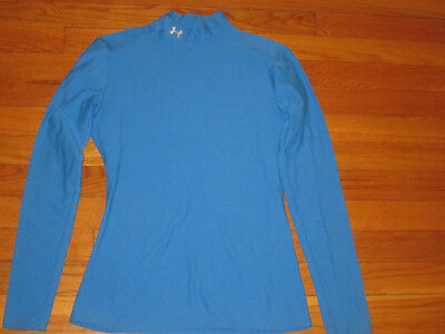 Under Armour Coldgear Long Sleeve Blue Mock Compression Jersey Womens Medium Exc