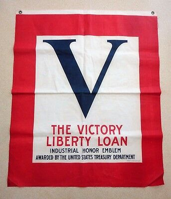 WWI Victory Liberty Loan Industrial Honor Emblem Flag Cloth Banner