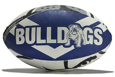 Steeden Mens Canterbury Bulldogs NRL Supporters Rugby Ball White Accessory