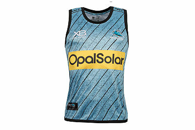 X Blades Mens Cronulla Sharks NRL 2018 Rugby Training Singlet Blue Activewear