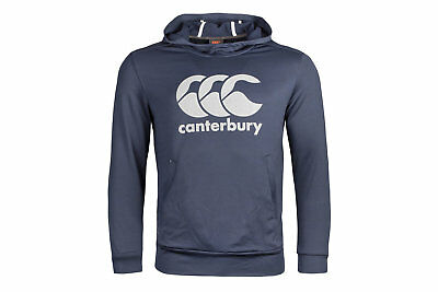 Canterbury Mens Vapodri Logo Hooded Rugby Sweat Navy Top Sports Training