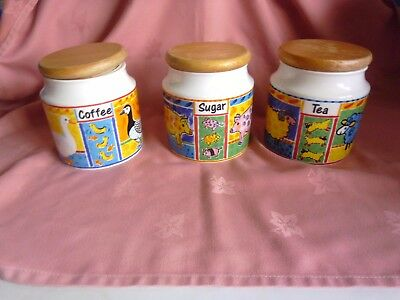 Dunoon pottery x 3 Canister, tea,coffee and sugar Farmyard