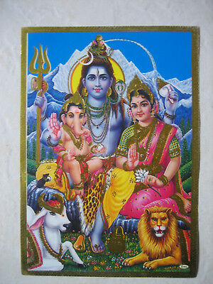 Gold Edged Picture Of Ganesh,parvati And Shiva