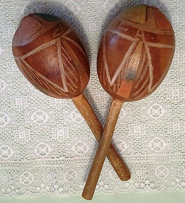 Old Vtg hand Carved MARACAS Jamaican Shakers Musical Instruments