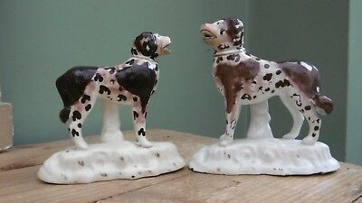 SUPERB Pr  EARLY 19thc STAFFORDSHIRE LIVER & WHITE DOGS IN STANDING POSE  C.1830