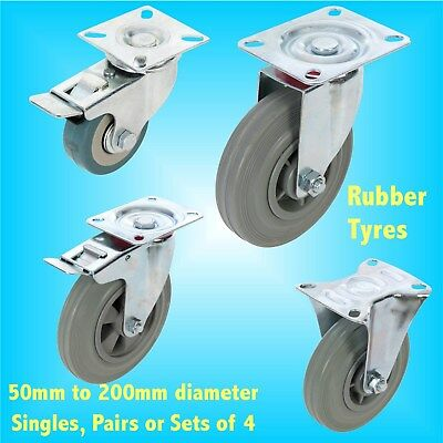 Rubber Castors 50mm 75mm 100mm 125mm Gate swivel braked trolley wheel caster