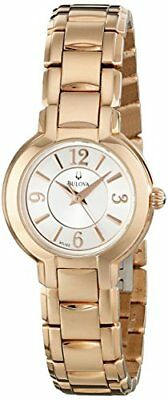 Bulova Classic White Dial Gold Stainless Steel Quartz Ladies Watch 97L122