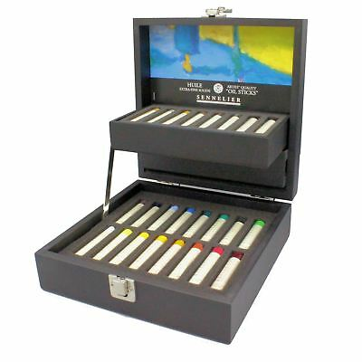 Sennelier 24 mini oil stick black wooden box gift artists professional