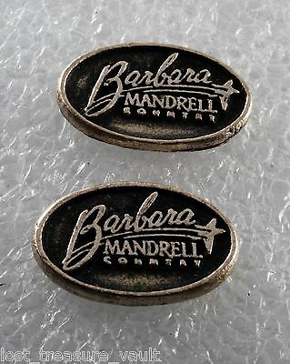 Vintage Pair Barbara Mandrell Country Silver Metal Plaque Charm Embossed Oval