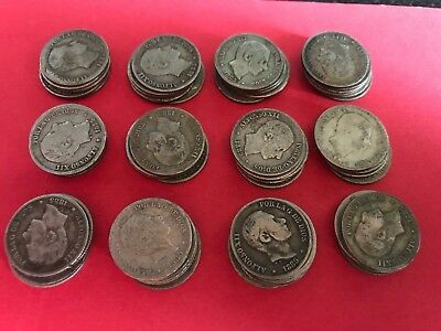 Spain Philippines Lot Of 60 Pieces 1885 10 Centavo Alfonso Xii, Silver, F/vf