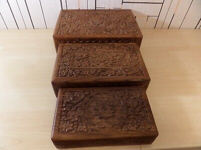 Lovely Set Of Three Carved Wooden Boxes In Graduating Sizes, All Fit Into One