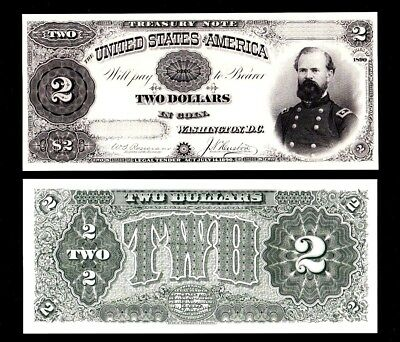 2 Proof Prints or Intaglio Impressions by BEP Front & Back of 1890 $2 Treasury