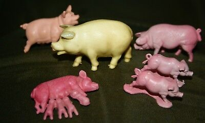 Vintage Toy Plastic Pigs-6-Safari-Momma Pig With Suckling Piglets-Toys-Hong Kong