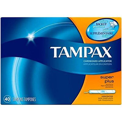 Tampax Cardboard Applicator, Super Plus Absorbency Tampons 40 Count