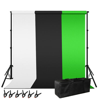 Photography Studio Background Backdrop Muslin Kit w/ Clamps Carrying Bag Stand