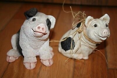Pigs-Stone Critters Collection-1984-Two-White/black-Figurines-Decor-Very Cute!