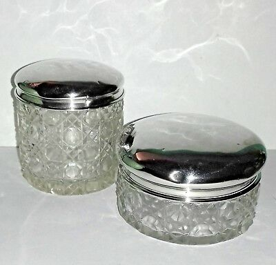 Pair Dressing Table Vanity Jars Hallmarked Silver Lids Hobnail Glass 44.2 gms