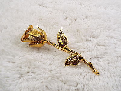 Goldtone Etched Rose Pin (D36)