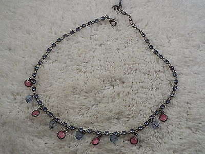 Gunmetal Pink Blue Faux Rhinestone Bead Necklace (C17)