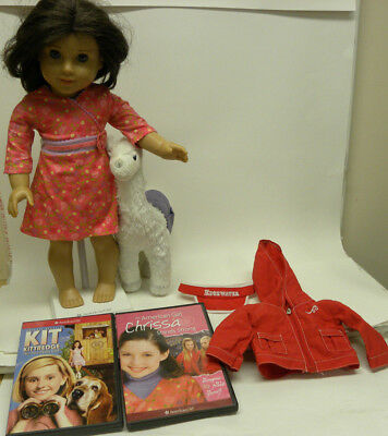 American Girl Chrissa Doll Stand LLama Blanket Warm Up Set Movies Kit Kittredge