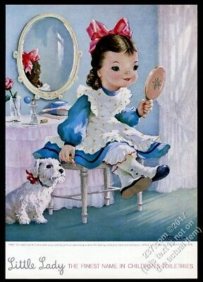 1957 Little Lady children's cosmetics little girl and dog art vintage print ad