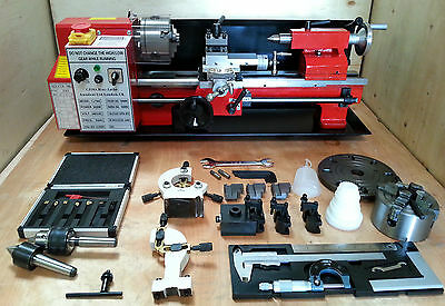"CJ18A Mini Lathe Red Package 4 - Brand New 7x14 Machine with DRO & 4"" Chuck"