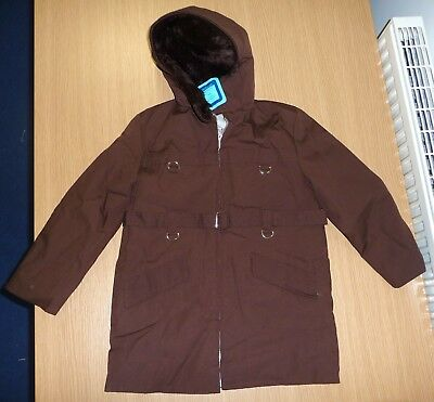 VINTAGE 1970's UNWORN BOYS ORIGINAL BROWN SPINNEY HOODED COAT AGE 7-8 YEARS