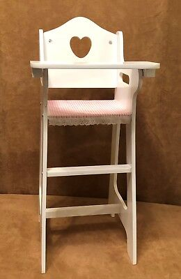 "High Chair wood white 18"" Dolls american girl bitty baby badger basket OG"