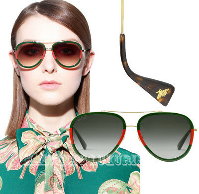 5c4af3f9734 Unisex Gucci Sunglasses Gg0062S 003 Aviator Web Green Red Bee Detail