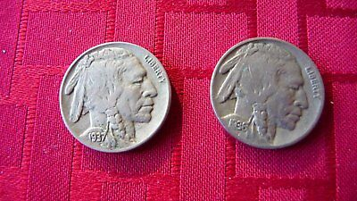 1936 and 1937 American buffalo nickels