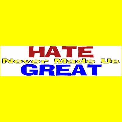 HATE NEVER MADE US GREAT Bumper Sticker  DONALD TRUMP  $2.99  BUY 2 GET 1 FREE