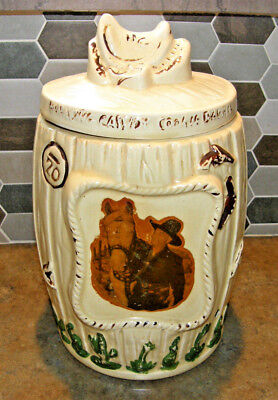 Vintage 1950's Ceramic Painted Glazed Hopalong Cassidy Barrel Cookie Jar w/ Lid