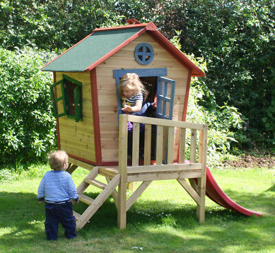 Redwood Tower Playhouse - Raised Childrens Cubby with Slide