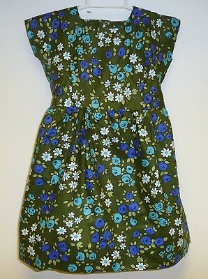 VINTAGE 1970's UNWORN GIRLS GREEN & BLUE FLORAL PATTERNED DRESS AGE 4-5 YEARS