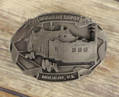 Mulvane Depot Belt Buckle Kansas 1984 Vintage KS HMC Train Railroad Limited Ed