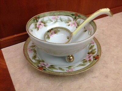 Nippon Porcelain Footed Sauce Dish W Matching Ladle & Saucer Roses Moriage beads